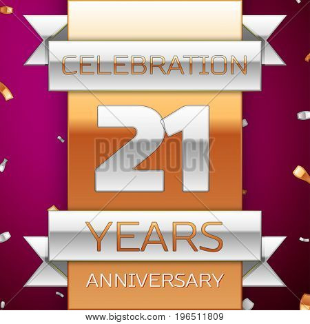Realistic Twenty one Years Anniversary Celebration Design. Silver and golden ribbon, confetti on purple background. Colorful Vector template elements for your birthday party. Anniversary ribbon