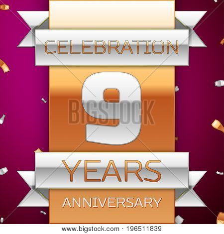 Realistic Nine Years Anniversary Celebration Design. Silver and golden ribbon, confetti on purple background. Colorful Vector template elements for your birthday party. Anniversary ribbon