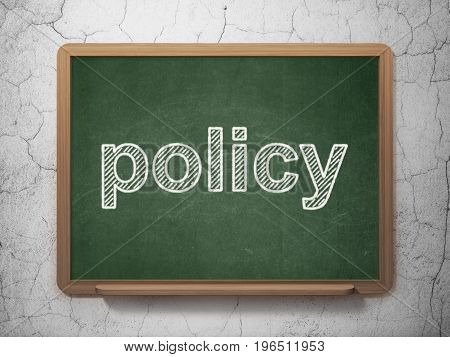 Insurance concept: text Policy on Green chalkboard on grunge wall background, 3D rendering
