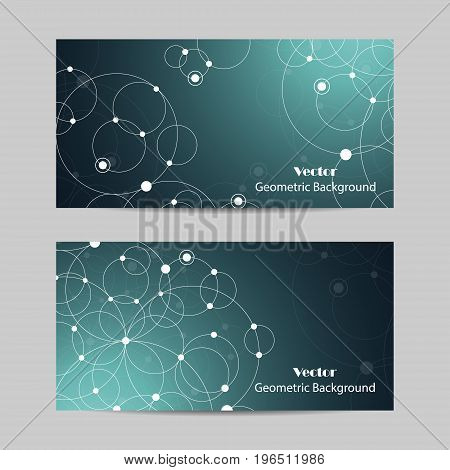 Set of horizontal banners. Abstract geometric background with connected circles and dots. Vector illustration.
