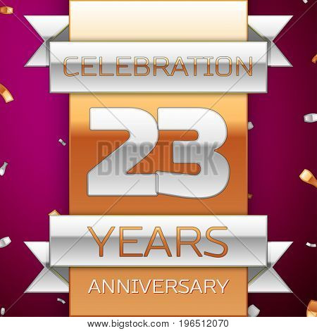 Realistic Twenty three Years Anniversary Celebration Design. Silver and golden ribbon, confetti on purple background. Colorful Vector template elements for your birthday party. Anniversary ribbon