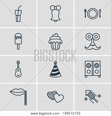Editable Pack Of Soft Drink, Jingle, Musical Instrument And Other Elements. Vector Illustration Of 12 Party Icons.