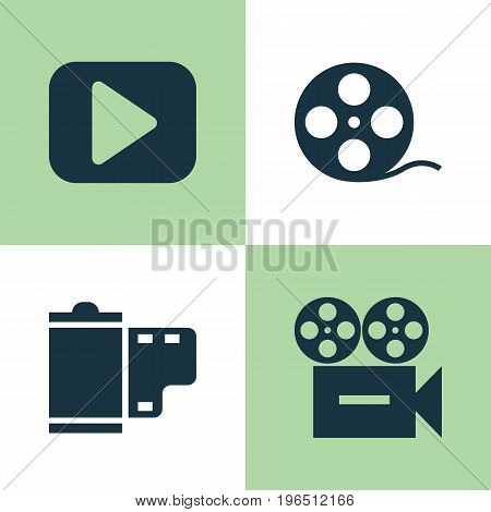 Music Icons Set. Collection Of Play, Video, Filmstrip And Other Elements