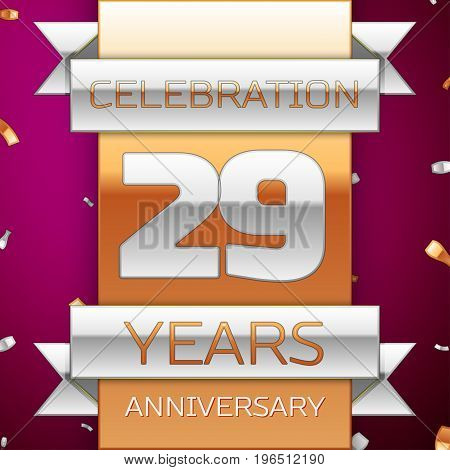 Realistic Twenty nine Years Anniversary Celebration Design. Silver and golden ribbon, confetti on purple background. Colorful Vector template elements for your birthday party. Anniversary ribbon