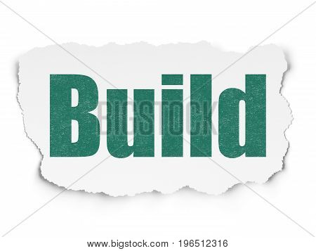 Constructing concept: Painted green text Build on Torn Paper background with  Tag Cloud