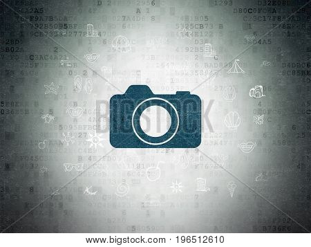 Travel concept: Painted blue Photo Camera icon on Digital Data Paper background with  Hand Drawn Vacation Icons