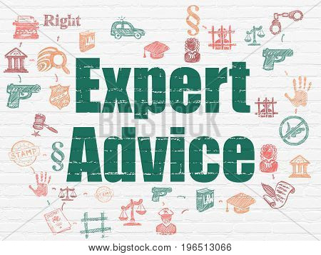 Law concept: Painted green text Expert Advice on White Brick wall background with Scheme Of Hand Drawn Law Icons