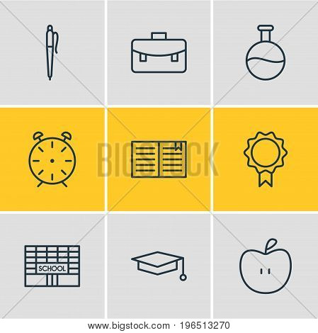 Editable Pack Of Fruit, Pencil, Textbook And Other Elements. Vector Illustration Of 9 Education Icons.