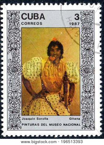 UKRAINE - CIRCA 2017: A postage stamp printed in Cuba shows Gypsy by Joaquin Sorolla from series Paintings from the National Museum circa 1987