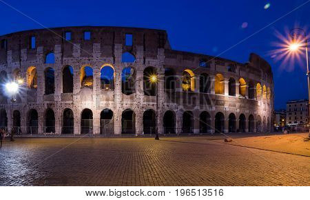 Colosseum (Coliseum) at night in Rome, Italy