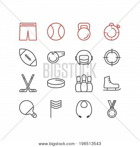Editable Pack Of Racer Hat, Flag, Ice Boot And Other Elements. Vector Illustration Of 16 Sport Icons.