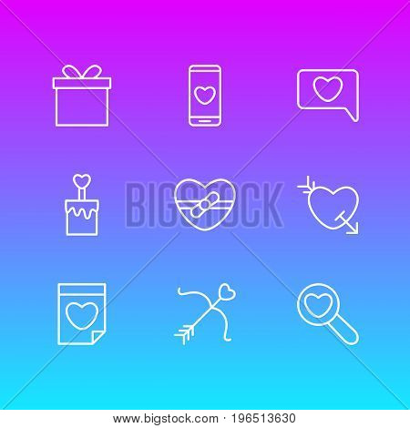 Editable Pack Of Smartphone, Gift, Present And Other Elements. Vector Illustration Of 9 Amour Icons.