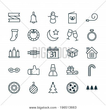 Holiday Icons Set. Collection Of Doughnut, Blank Ribbon, Celebrate Whistle And Other Elements