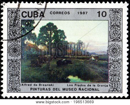 UKRAINE - CIRCA 2017: A postage stamp printed in Cuba shows Farm by Alfred de Breanski from series Paintings from the National Museum circa 1987