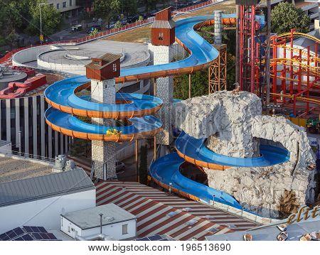VIENNA/ AUSTRIA - JULY 7, 2017. Attraction Wildalpenbahn in the amusement park Prater in the center of Vienna, Austria.