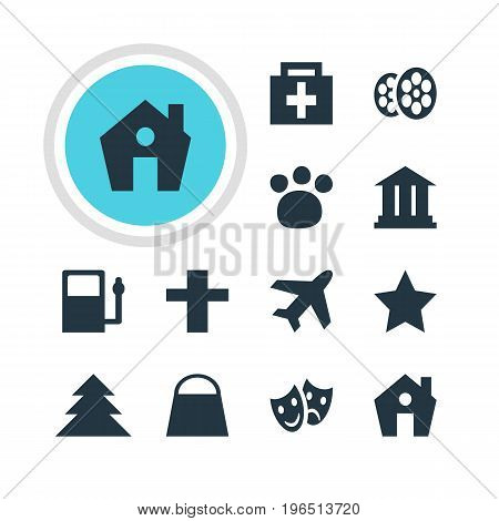 Vector Illustration Of 12 Location Icons. Editable Pack Of Home, Masks, Drugstore And Other Elements.