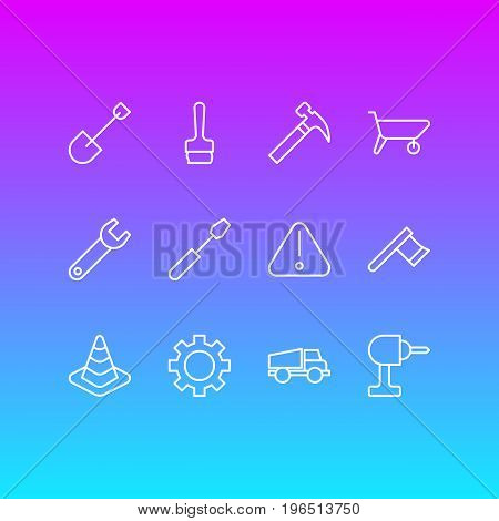 Editable Pack Of Cogwheel, Paintbrush, Hatchet And Other Elements. Vector Illustration Of 12 Construction Icons.