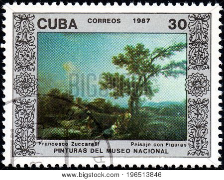 UKRAINE - CIRCA 2017: A postage stamp printed in Cuba shows Landscape with People by Francesco Zuccarelli from series Paintings from the National Museum circa 1987