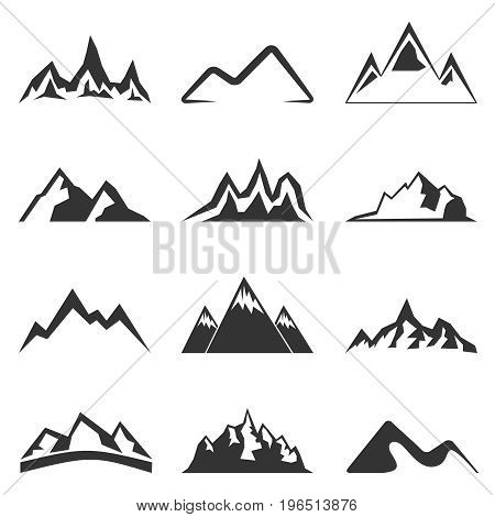 Set of twelve vector mountain shapes for logos. Camping mountain logo, travel labels, climbing or hiking badges
