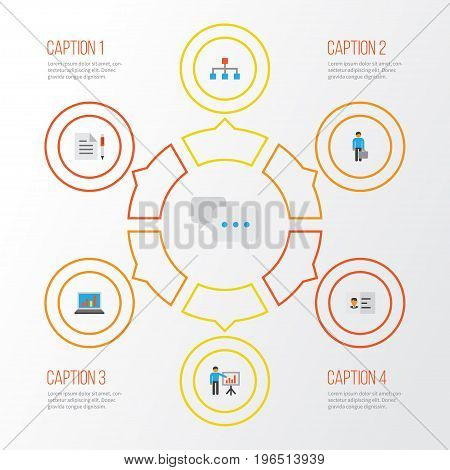 Trade Flat Icons Set. Collection Of Identification, Contract, Work Man And Other Elements