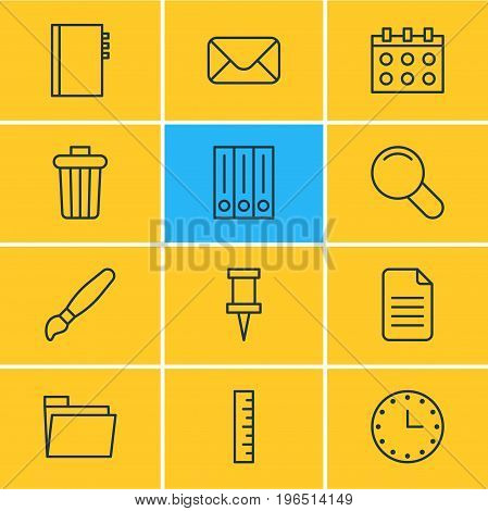 Editable Pack Of Textbook, Watch, Archive And Other Elements. Vector Illustration Of 12 Tools Icons.