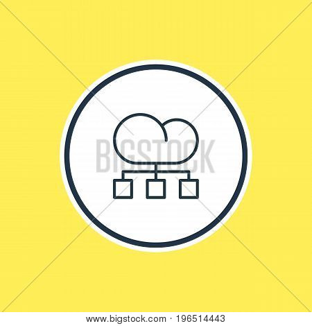 Beautiful Marketing Element Also Can Be Used As Cloud Distribution Element. Vector Illustration Of Structure Outline.