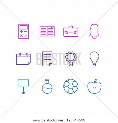 Editable Pack Of Textbook, Write Table, Date And Other Elements. Vector Illustration Of 12 Studies Icons.