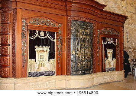 JERUSALEM, ISRAEL - June 15, 2017: wooden cabinet for storage of the Torah in the synagogue of Wailing Wall ( Western Wall or Kotel ), Old City of Jerusalem, Israel