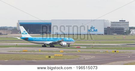 Schiphol, Amsterdam, June 29, 2017: View Of A Klm Plane At Schiphol Airport On June 29, 2017 In Amst