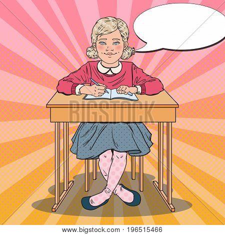 Pop Art Schoolgirl Sitting at School Desk in Classroom. Educational Concept. Vector illustration