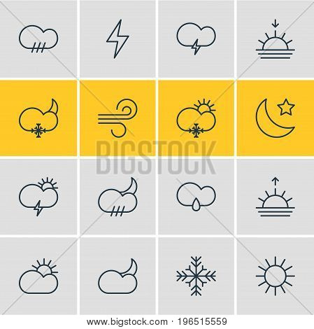 Editable Pack Of Sunny, Sun, Drizzles And Other Elements. Vector Illustration Of 16 Weather Icons.