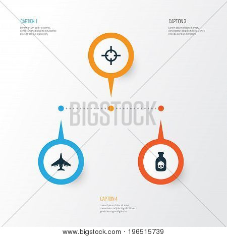 Warfare Icons Set. Collection Of Danger, Aircraft, Target And Other Elements