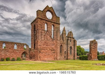 The substantial ruins of a Tironensian monastery founded by William the Lion in 1178 who is buried in Arbroath Abbey. Arbroath Abbey is famously associated with the Declaration of Arbroath of 1320 which asserted Scotland's independence from England. Parts