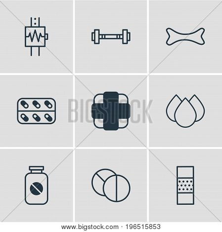 Vector Illustration Of 9 Health Icons. Editable Pack Of Dumbbell, Band Aid, Trickle Elements.