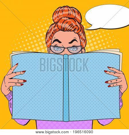 Pop Art Surprised Woman Reading Book. Educational Concept. Vector illustration