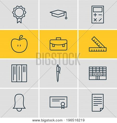Vector Illustration Of 12 Studies Icons. Editable Pack Of Trophy, Fruit, Jingle And Other Elements.