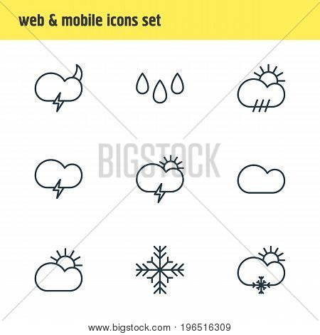 Vector Illustration Of 9 Weather Icons. Editable Pack Of Windstorm, Rain, Snow And Other Elements.