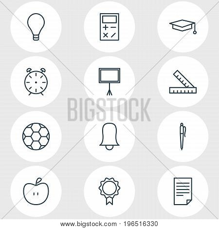 Vector Illustration Of 12 Studies Icons. Editable Pack Of Meter, Cap, Bulb And Other Elements.