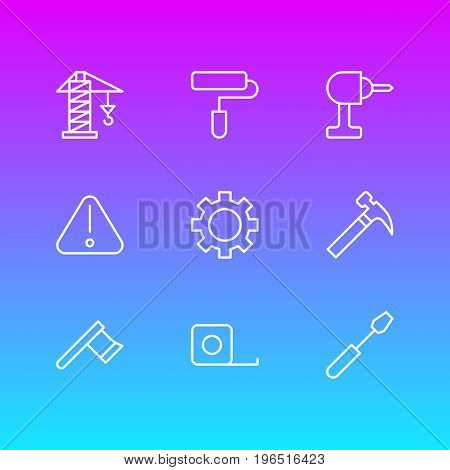 Vector Illustration Of 9 Structure Icons. Editable Pack Of Turn Screw, Cogwheel, Hatchet And Other Elements.