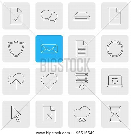 Vector Illustration Of 16 Network Icons. Editable Pack Of Hard Drive Disk, Letter, Checked Note And Other Elements.