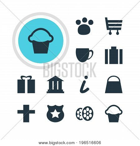 Editable Pack Of Shopping Cart, Map Information, Cop And Other Elements. Vector Illustration Of 12 Location Icons.