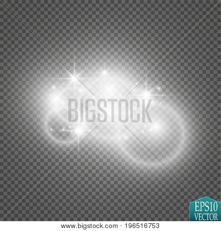 Lights on transparent background. Magic concept. Vector white glitter wave abstract illustration. White star dust trail sparkling particles isolated.