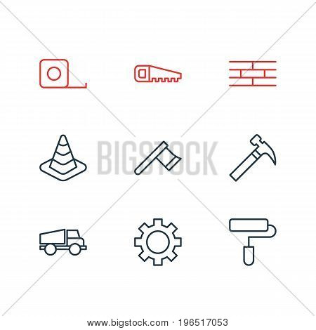 Vector Illustration Of 9 Construction Icons. Editable Pack Of Cogwheel, Barrier, Hatchet And Other Elements.