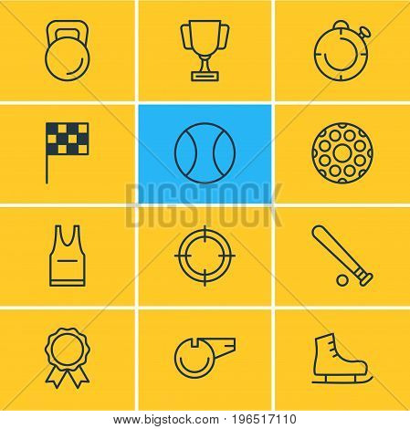 Editable Pack Of Award, Tennis, Weight And Other Elements. Vector Illustration Of 12 Athletic Icons.