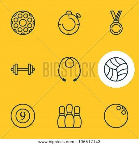 Editable Pack Of Reward, Skipping Rope, Game And Other Elements. Vector Illustration Of 9 Sport Icons.