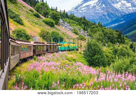 Skagway Alaska. The scenic White Pass & Yukon Route Railroad.