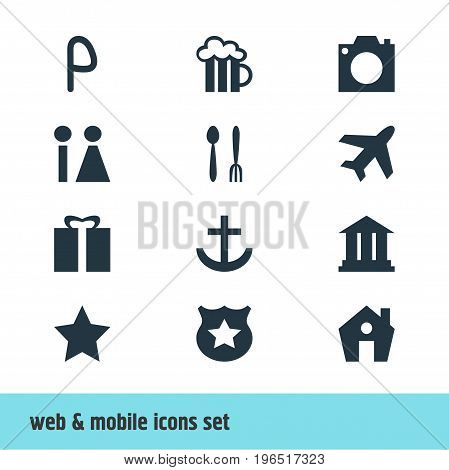 Editable Pack Of Cop, University, Car Park And Other Elements. Vector Illustration Of 12 Check-In Icons.