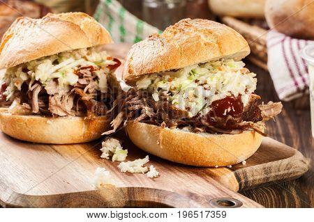 Homemade Pulled Pork Burger With Coleslaw Salad