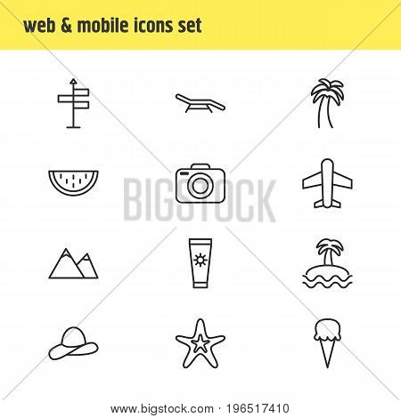 Vector Illustration Of 12 Season Icons. Editable Pack Of Photo Apparatus, Guide, Longue And Other Elements.