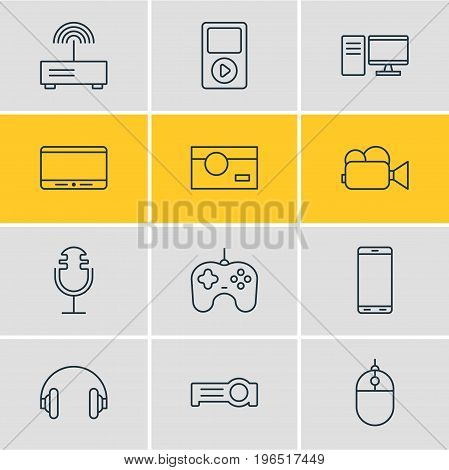 Editable Pack Of PC, Photography, Media Controller And Other Elements. Vector Illustration Of 12 Hardware Icons.